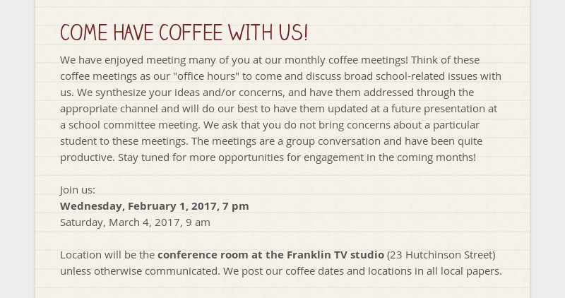 COME HAVE COFFEE WITH US!  We have enjoyed meeting many of you at our monthly coffee meetings! Think...