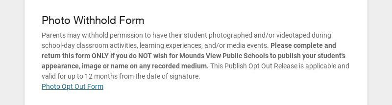 Photo Withhold Form