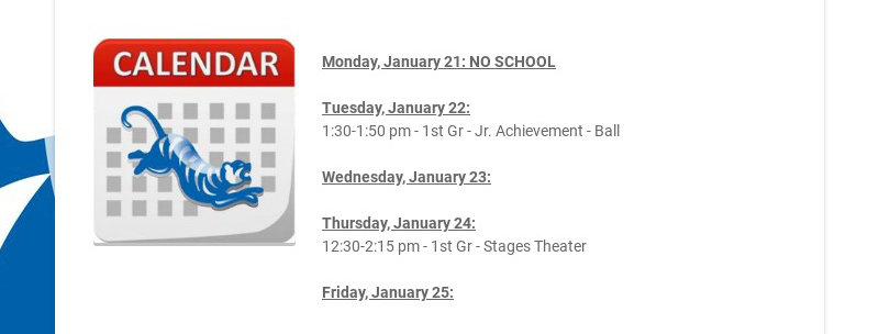 Monday, January 21: NO SCHOOL