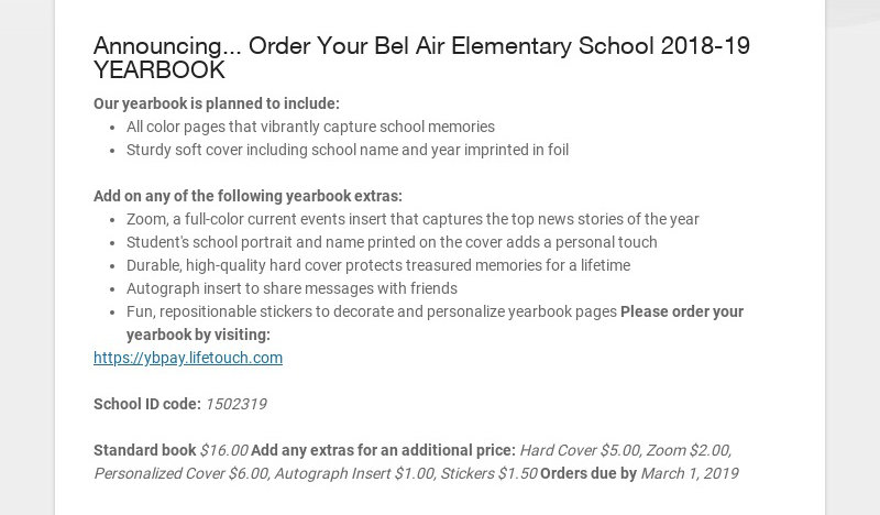 Announcing... Order Your Bel Air Elementary School 2018-19 YEARBOOK