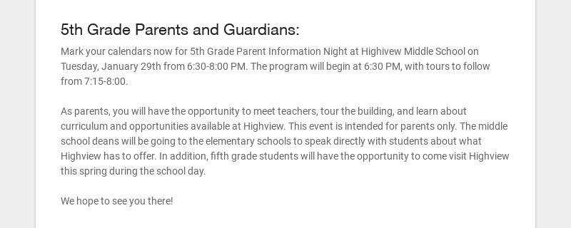 5th Grade Parents and Guardians: