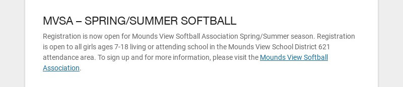 MVSA – SPRING/SUMMER SOFTBALL
