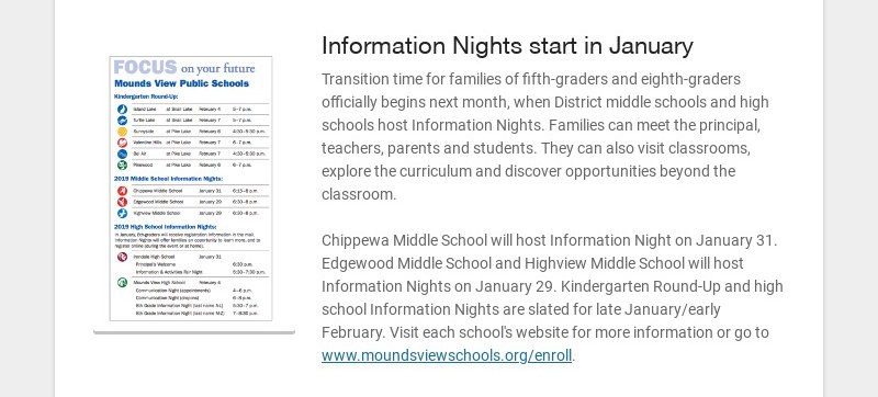 Information Nights start in January Transition time for families of fifth-graders and eighth-...