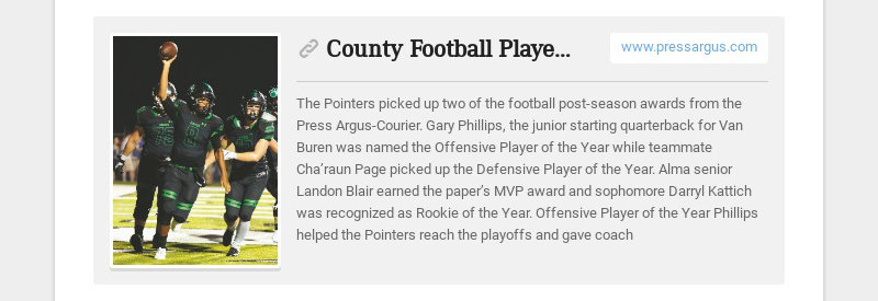 County Football Players of the Year www.pressargus.com The Pointers picked up two of the football...