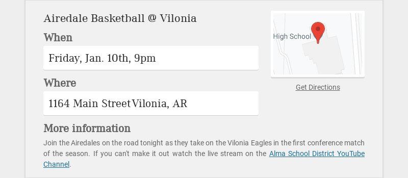 Airedale Basketball @ Vilonia When Friday, Jan. 10th, 9pm Where 1164 Main Street Vilonia, AR More...