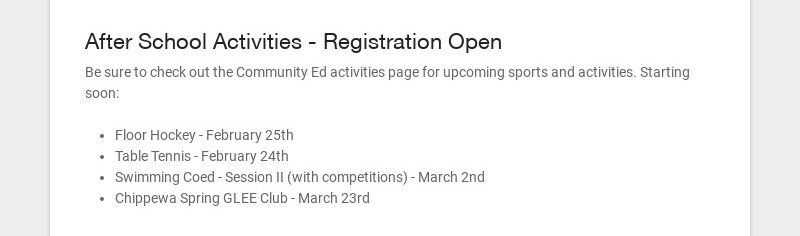 After School Activities - Registration Open