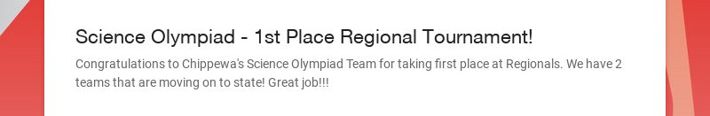 Science Olympiad - 1st Place Regional Tournament!