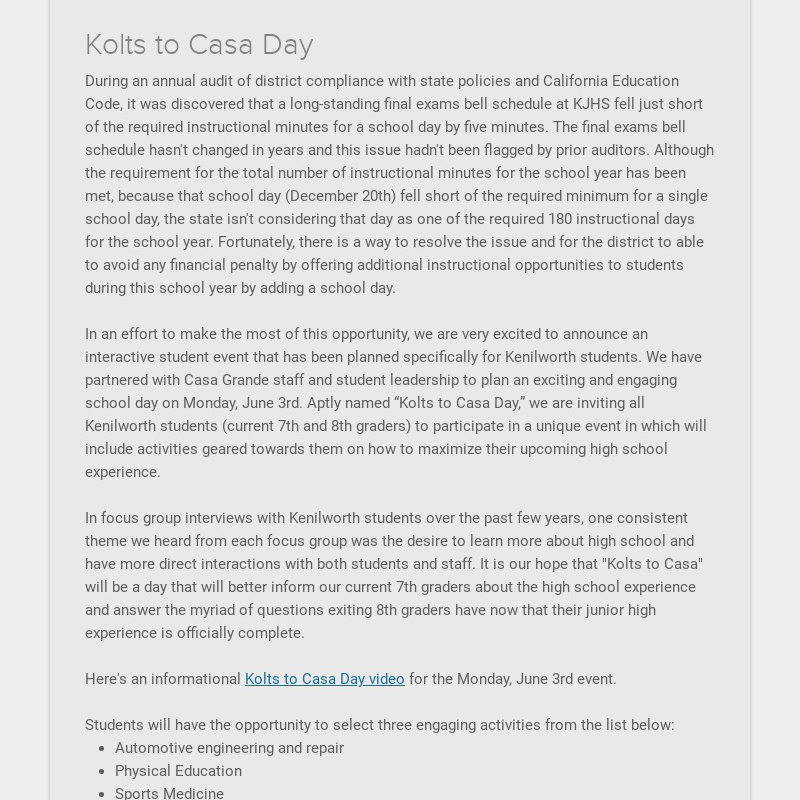 Kolts to Casa Day