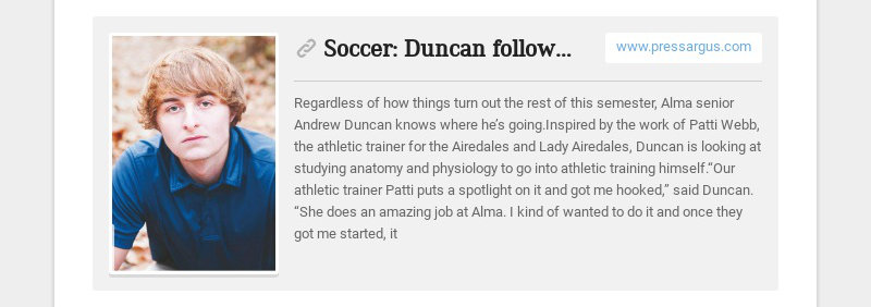 Soccer: Duncan follows his path