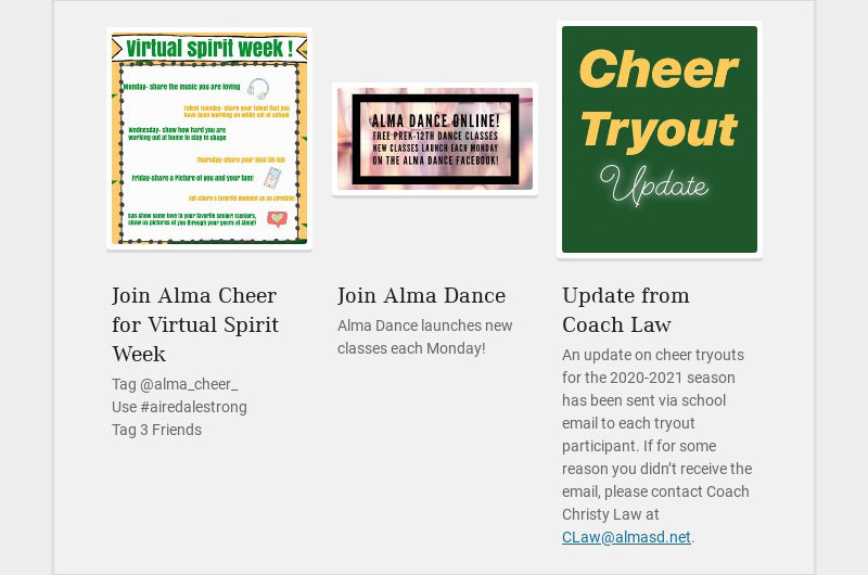 Join Alma Cheer for Virtual Spirit Week Tag @alma_cheer_ Use #airedalestrong Tag 3 Friends...