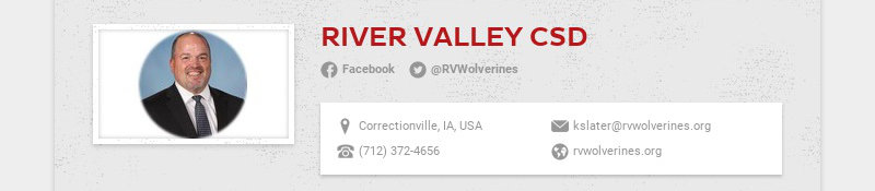 RIVER VALLEY CSD Facebook @RVWolverines Correctionville, IA, USA kslater@rvwolverines.org (712)...