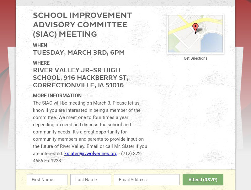 SCHOOL IMPROVEMENT ADVISORY COMMITTEE (SIAC) MEETING WHEN TUESDAY, MARCH 3RD, 6PM WHERE RIVER...