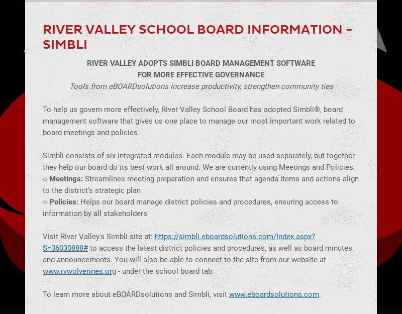 RIVER VALLEY SCHOOL BOARD INFORMATION - SIMBLI RIVER VALLEY ADOPTS SIMBLI BOARD MANAGEMENT...