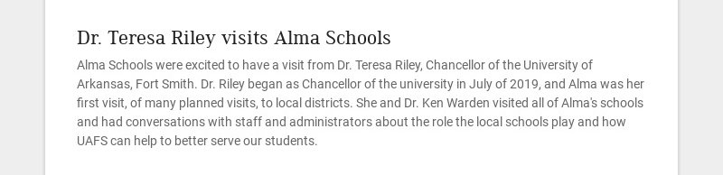Dr. Teresa Riley visits Alma Schools Alma Schools were excited to have a visit from Dr. Teresa...