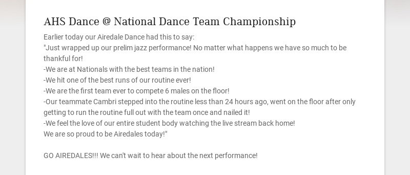 AHS Dance @ National Dance Team Championship Earlier today our Airedale Dance had this to say:...