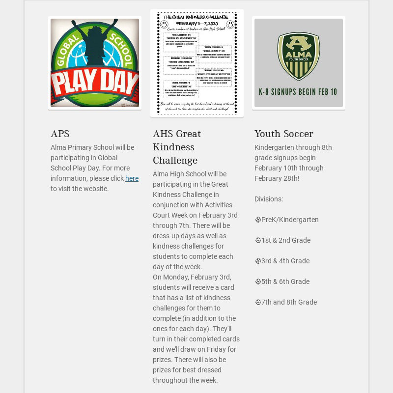 APS Alma Primary School will be participating in Global School Play Day. For more information,...