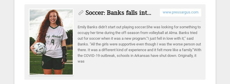 Soccer: Banks falls into soccer