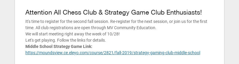 Attention All Chess Club & Strategy Game Club Enthusiasts! It's time to register for the second...
