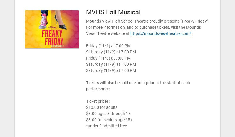 """MVHS Fall Musical Mounds View High School Theatre proudly presents """"Freaky Friday"""". For more..."""