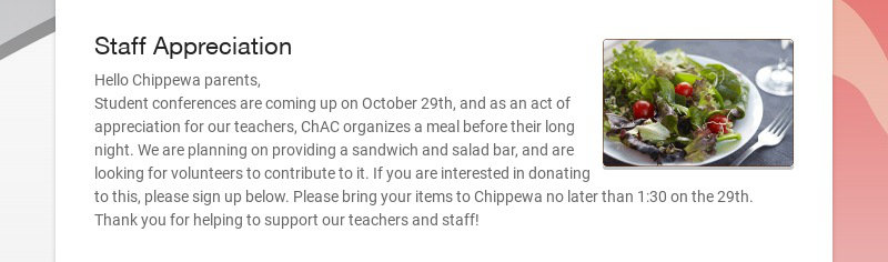 Staff Appreciation Hello Chippewa parents, Student conferences are coming up on October 29th, and...
