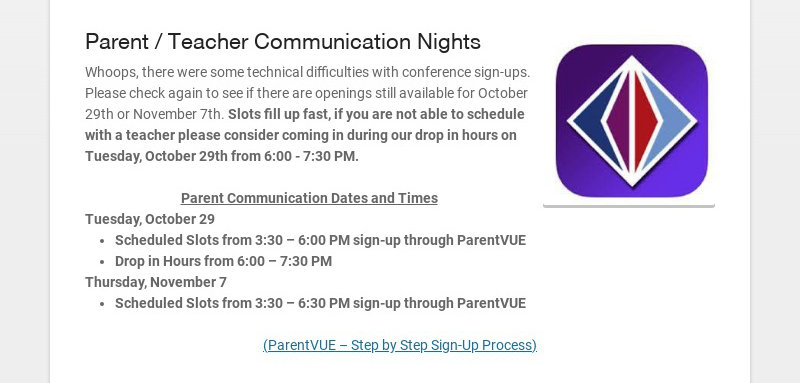 Parent / Teacher Communication Nights Whoops, there were some technical difficulties with...