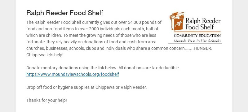 Ralph Reeder Food Shelf The Ralph Reeder Food Shelf currently gives out over 54,000 pounds of...