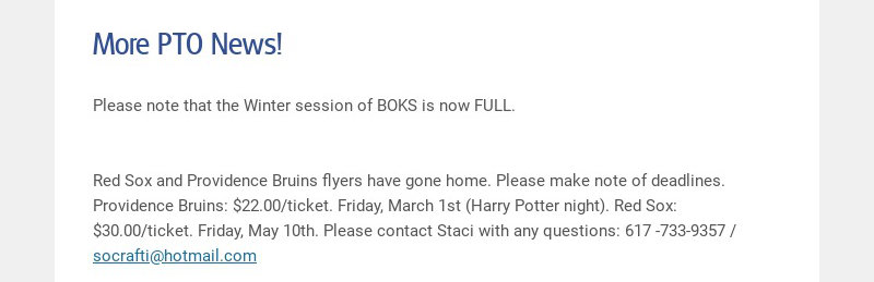 More PTO News!