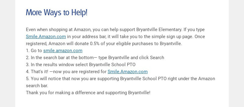 More Ways to Help!