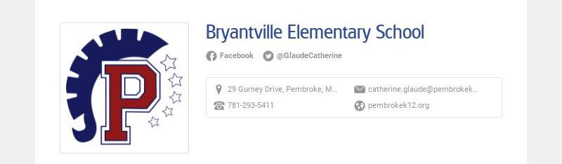 Bryantville Elementary School Facebook @GlaudeCatherine 29 Gurney Drive, Pembroke, MA, USA...