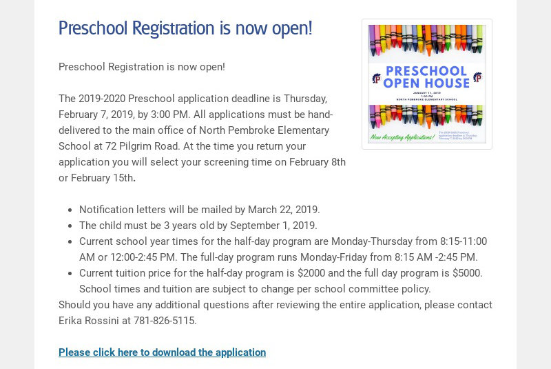 Preschool Registration is now open!