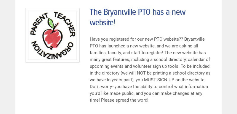 The Bryantville PTO has a new website!
