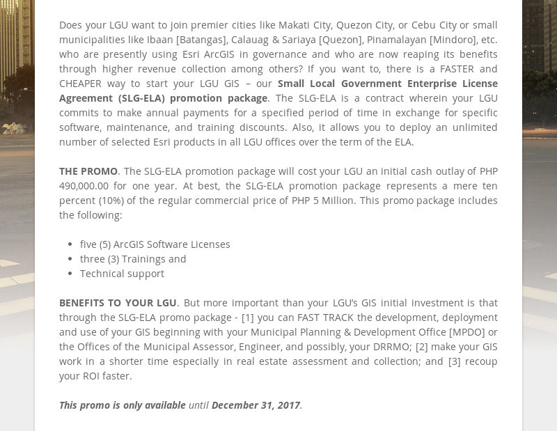 Does your LGU want to join premier cities like Makati City, Quezon City, or Cebu City or small...