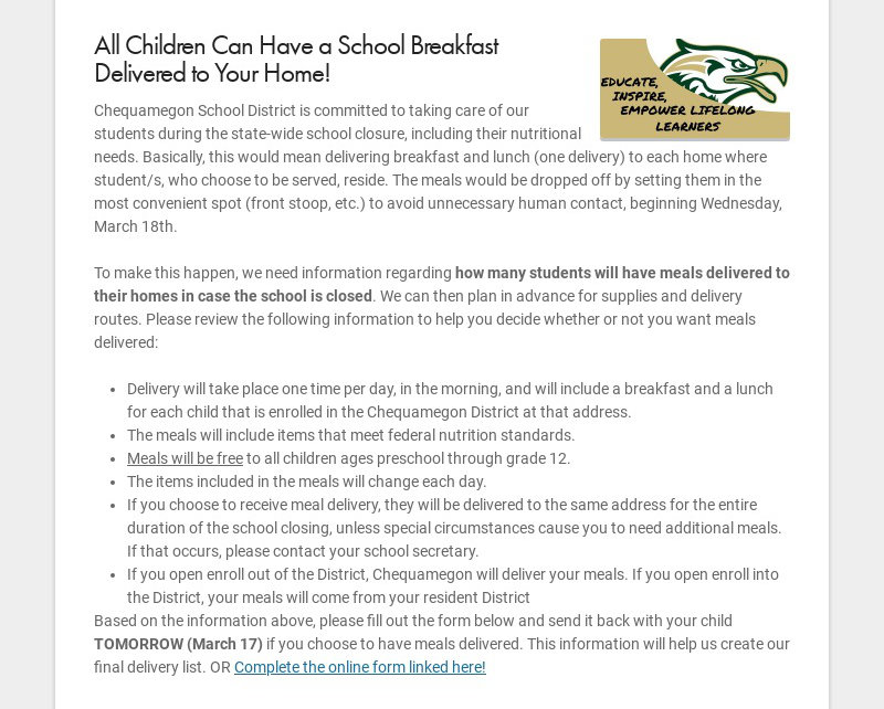 All Children Can Have a School Breakfast Delivered to Your Home! Chequamegon School District is...