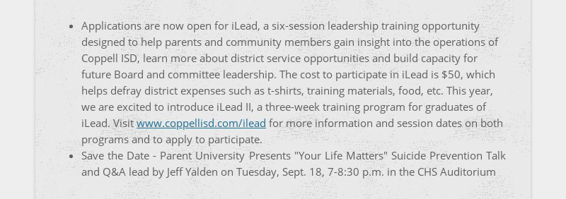 Applications are now open for iLead, a six-session leadership training opportunity designed to...