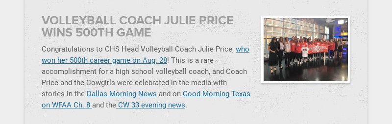 VOLLEYBALL COACH JULIE PRICE WINS 500TH GAME Congratulations to CHS Head Volleyball Coach Julie...