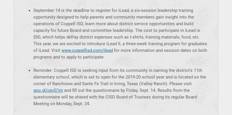 September 14 is the deadline to register for iLead, a six-session leadership training opportunity...
