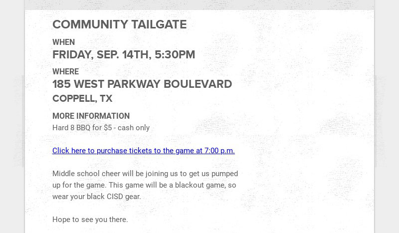 COMMUNITY TAILGATE