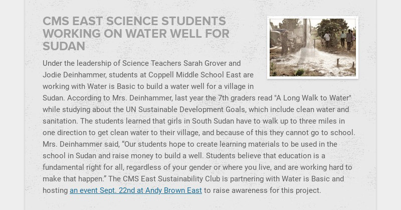 CMS EAST SCIENCE STUDENTS WORKING ON WATER WELL FOR SUDAN Under the leadership of Science...