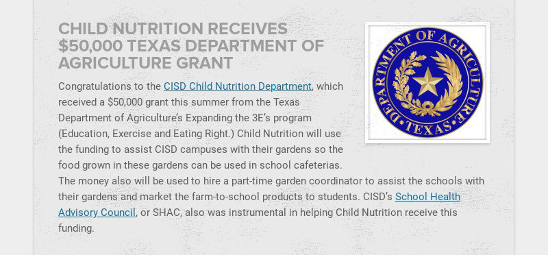 CHILD NUTRITION RECEIVES $50,000 TEXAS DEPARTMENT OF AGRICULTURE GRANT Congratulations to the...