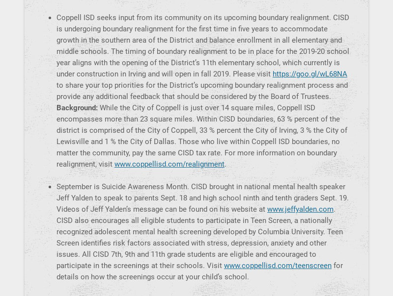 Coppell ISD seeks input from its community on its upcoming boundary realignment. CISD is...