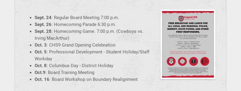 Sept. 24: Regular Board Meeting 7:00 p.m. Sept. 26: Homecoming Parade 6:30 p.m. Sept. 28:...