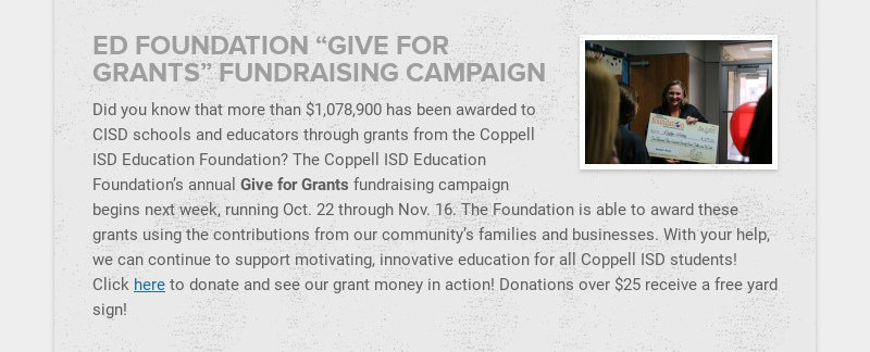 """ED FOUNDATION """"GIVE FOR GRANTS"""" FUNDRAISING CAMPAIGN Did you know that more than $1,078,900 has..."""