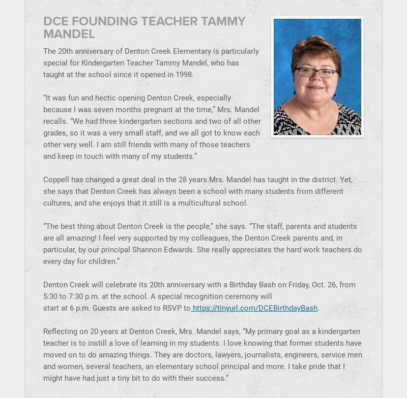 DCE FOUNDING TEACHER TAMMY MANDEL
