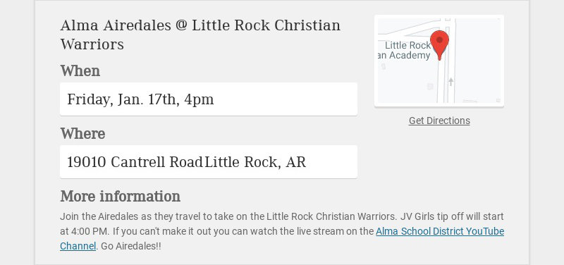 Alma Airedales @ Little Rock Christian Warriors When Friday, Jan. 17th, 4pm Where 19010 Cantrell...