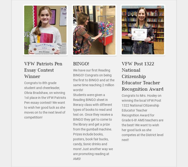 VFW Patriots Pen Essay Contest Winner Congrats to 8th grade student and cheerleader, Olivia...