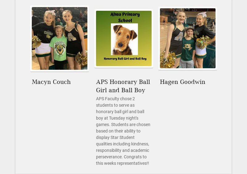 Macyn Couch APS Honorary Ball Girl and Ball Boy APS Faculty chose 2 students to serve as...