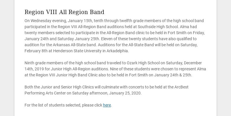 Region VIII All Region Band On Wednesday evening, January 15th, tenth through twelfth grade...
