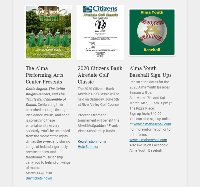 The Alma Performing Arts Center Presents Celtic Angels, The Celtic Knight Dancers, and The...
