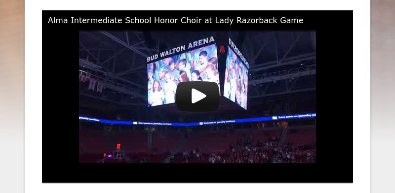 Alma Intermediate School Honor Choir at Lady Razorback Game