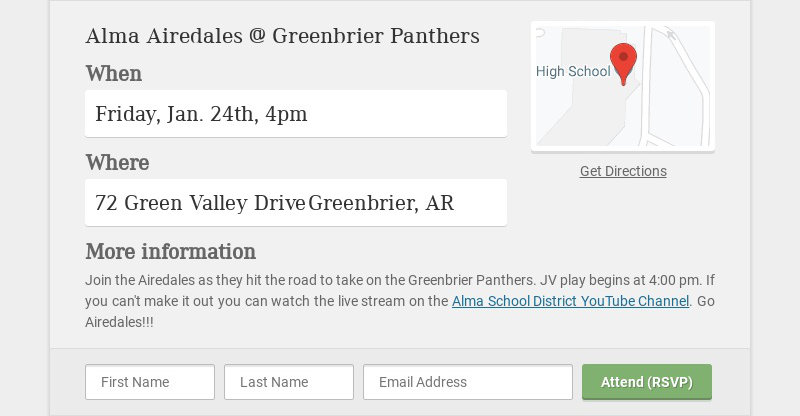 Alma Airedales @ Greenbrier Panthers
